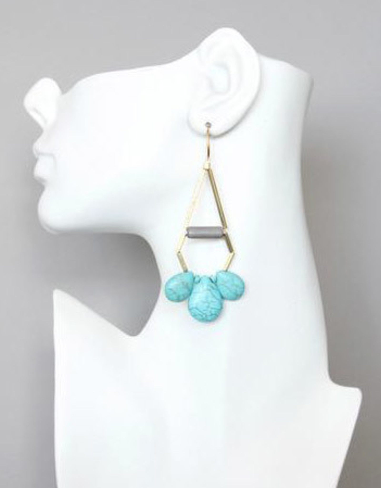 David Aubrey Long Brass Tube Earrings with Blue Howlite Teardrops - David Aubrey