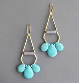 David Aubrey Long Brass Earrings with Turquoise Teardrop + Hematite Beads - David Aubrey
