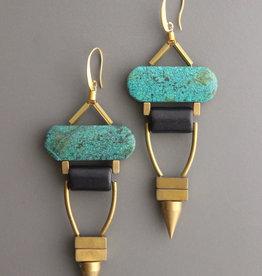 David Aubrey Statement Turquoise, Hematite + Brass Bead Dangle Earrings - David Aubrey
