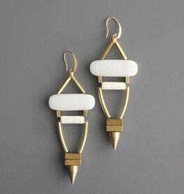 David Aubrey Long Brass Tube Earrings with White Agate + Hematite Beads - David Aubrey
