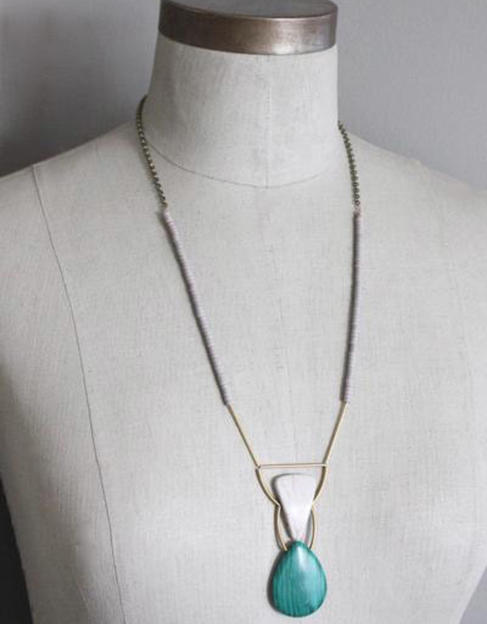 David Aubrey Malachite Teardrop, White Agate, and Brass Necklace - David Aubrey