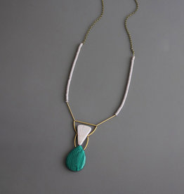 David Aubrey Malachite Teardrop, White Agate, and Brass Necklace - David Aubrey