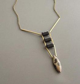 David Aubrey Long Brass Necklace with Jasper Marquis Stone Drop + Black Stones - David Aubrey