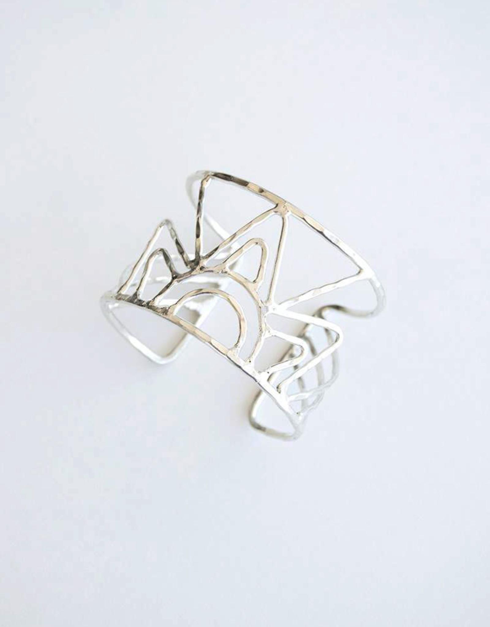 Mata Traders Deco Beam Cuff Bracelet, Silver - Mata Traders