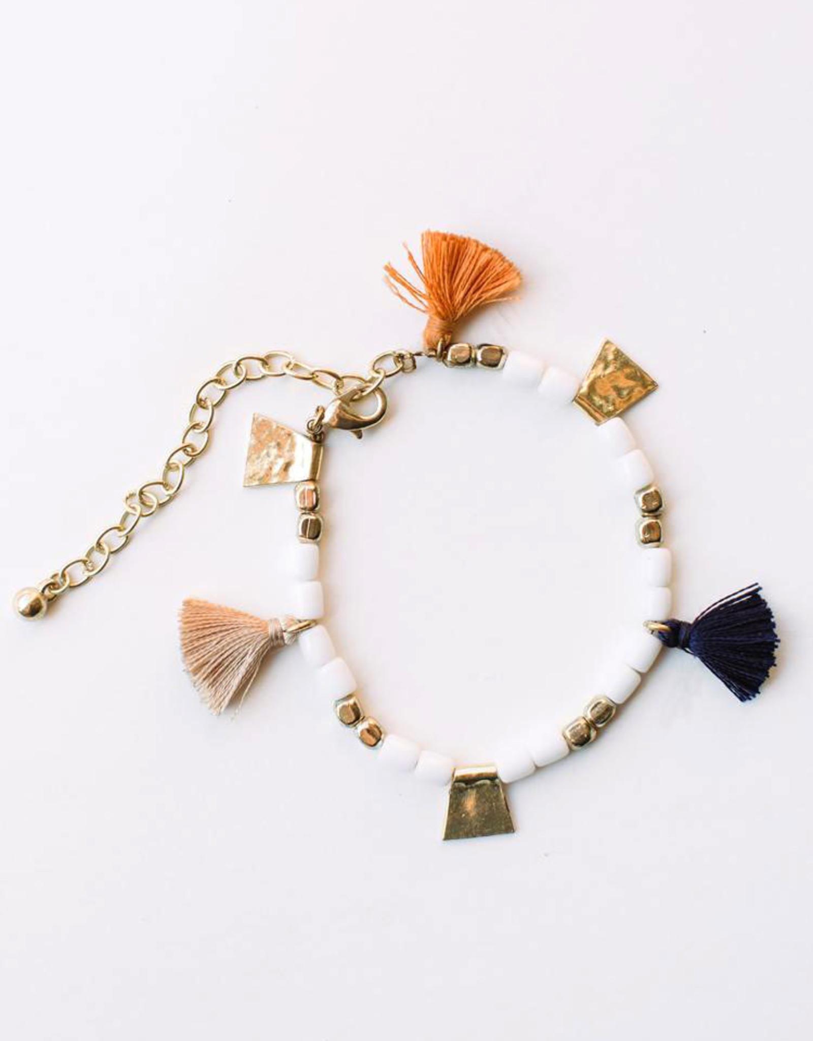 Mata Traders Isla Tassel Bracelet with White Beads - Mata Traders