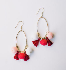 Mata Traders Red Fiesta Pom Earrings - Mata Traders