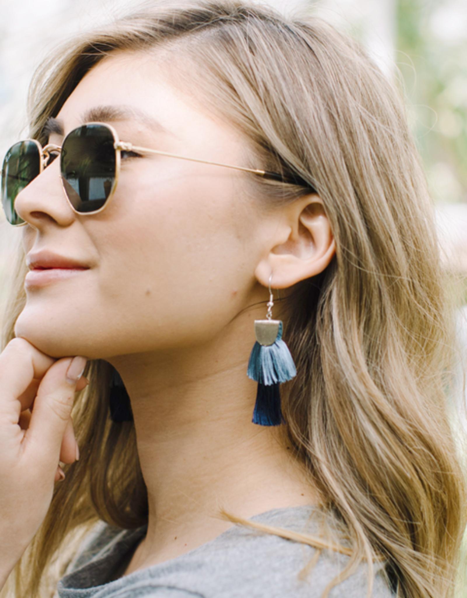 Mata Traders Blue Cozumel Tassel Earrings - Mata Traders