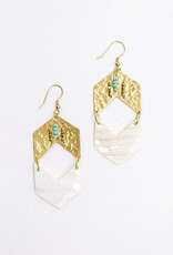Mata Traders Brass + Shell Genoa Chevron Earrings - Mata Traders