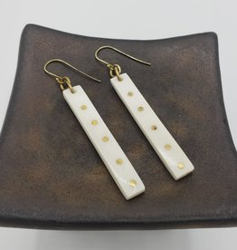 Amsha Oblong Bone with Brass Dots Earrings