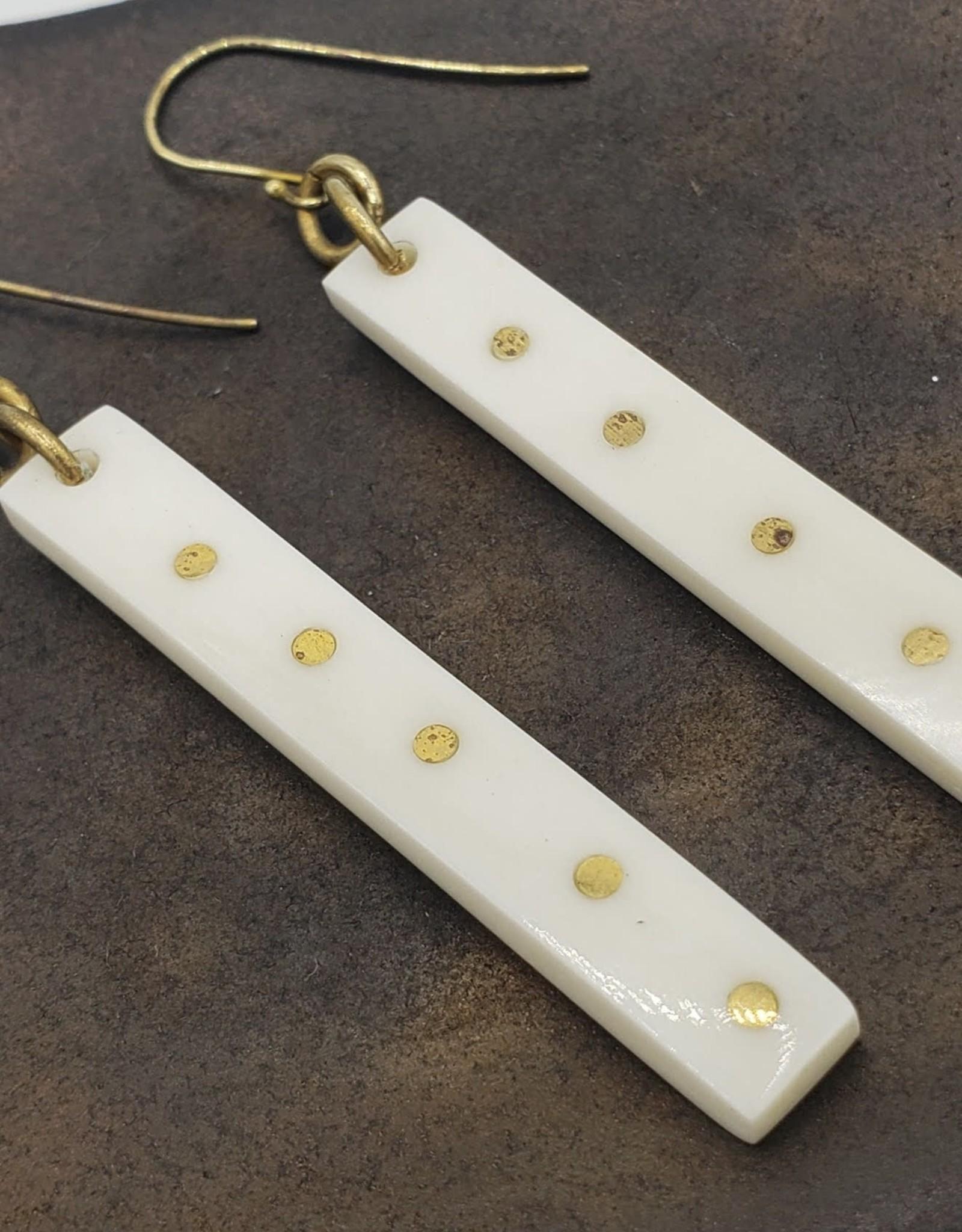 Amsha Oblong Bone with Brass Dots Earrings