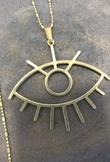 Boho Gal Jewelry Flora Evil Eye Brass Charm Necklace