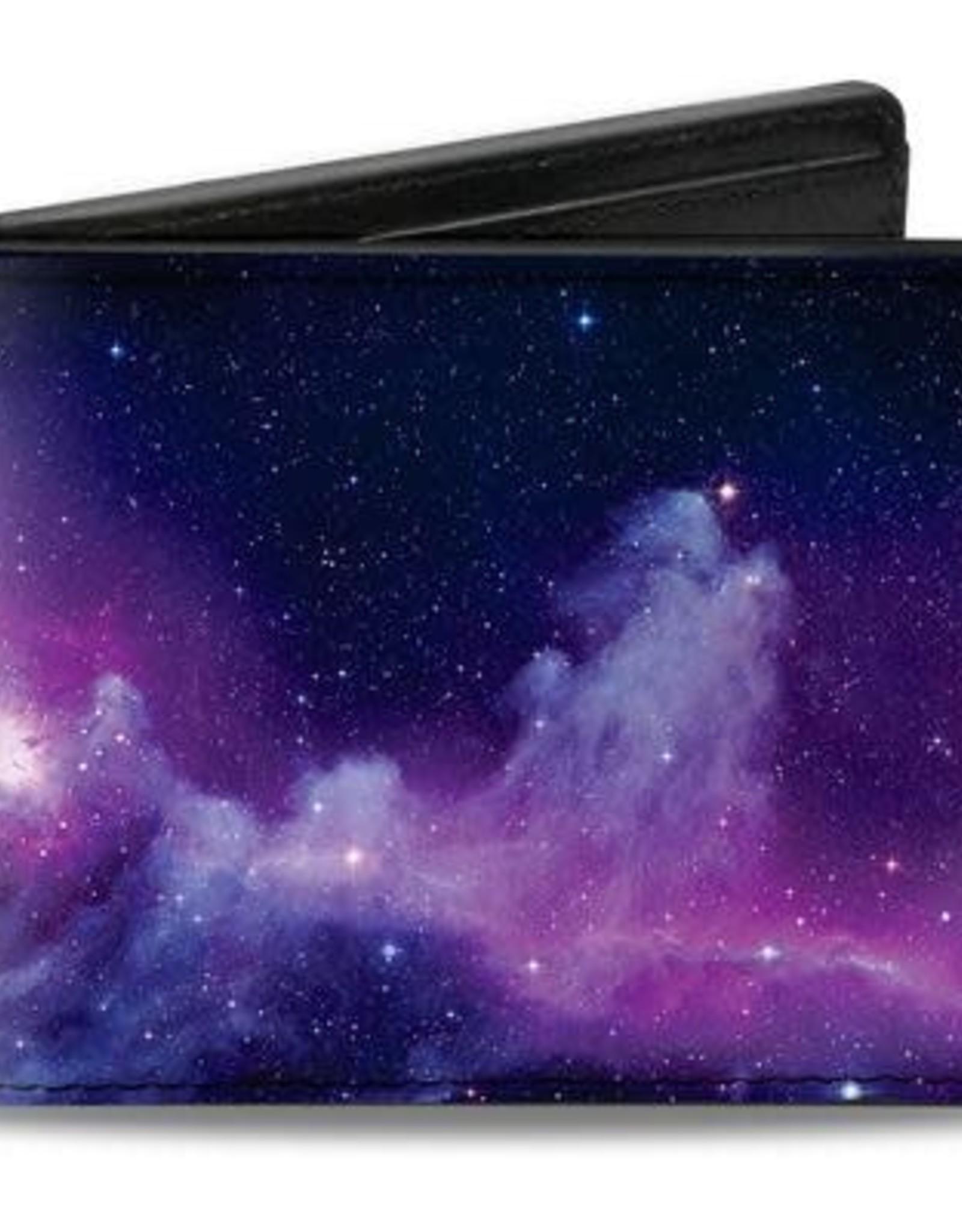 Buckle Down Belts Galaxy Bi-Fold Wallet in Purple and Pink