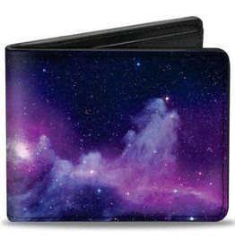 Buckle Down Belts Galaxy Bi-Fold Wallet in Purple and Pink