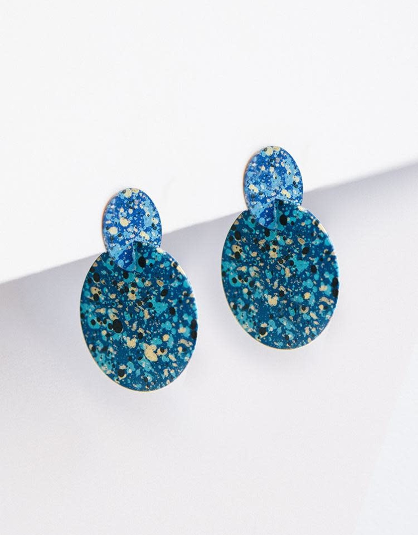 Mata Traders Interstellar Stud Earring, Blue Painted Metal - Mata Traders