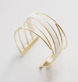 Mata Traders Woven Wave Cuff, White + Brass - Mata Traders