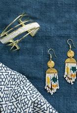 Mata Traders Woven Wave Cuff, White + Brass - Mata Traders