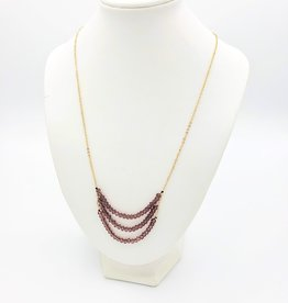 Triple crystal plum bead strand Necklace - gold plate chain