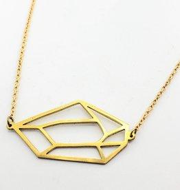 "Monserat de Lucca Single Brass 2D ""Gemstone"" Necklace"