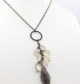 Smoky quartz Necklace with Champagne Crystal Cascades