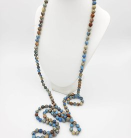 Long Blue Jasper Beaded Necklace
