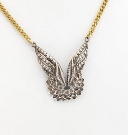 Phoenix Wings Necklace in sterling, polished brass curb chain