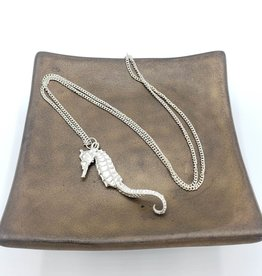 Large cast seahorse pendant, silver plated - by Swallow