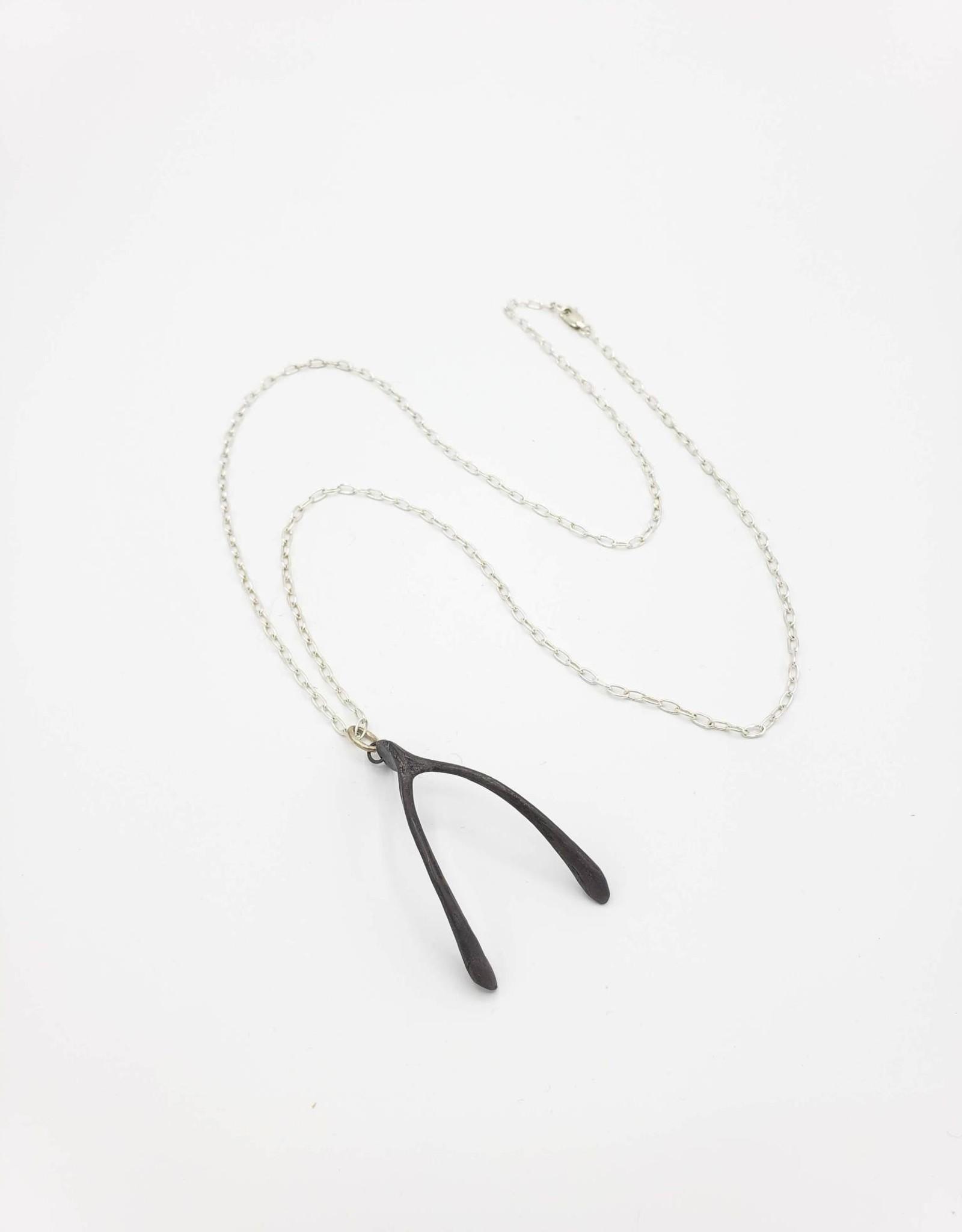 Redux Wishbone pendant cast in Oxidized Sterling Silver
