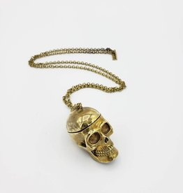Monserat de Lucca Hinged Brass Skull Necklace by Monserat De Lucca