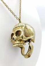 Monserat de Lucca Hinged Brass Skull Necklace by Monserat De Lucca