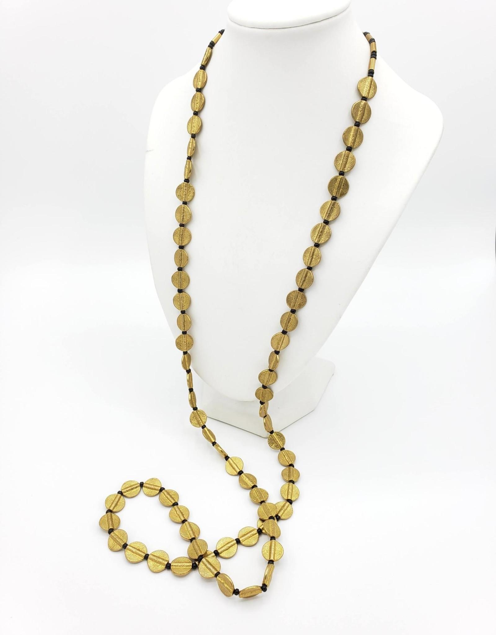 Boho Gal Jewelry Sana Necklace with Brass Flat Circle Beads