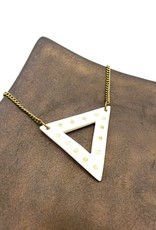 Amsha Bone Triangle  with Brass Inlay Dots Necklace by Amsha