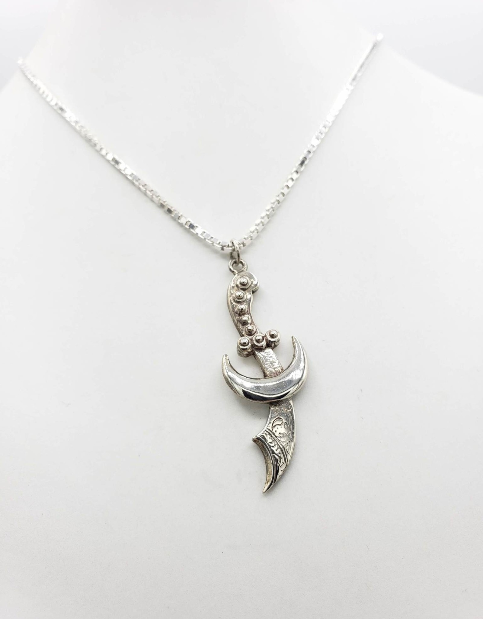Sterling Silver sword and moon ''Amira'' Necklace