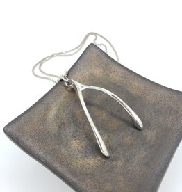Wishbone Necklace cast in Sterling Silver, high polish finish
