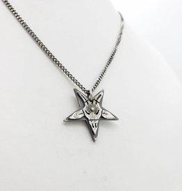 Baphomet Pentagram Necklace, Oxidized Silver - Missy Industry