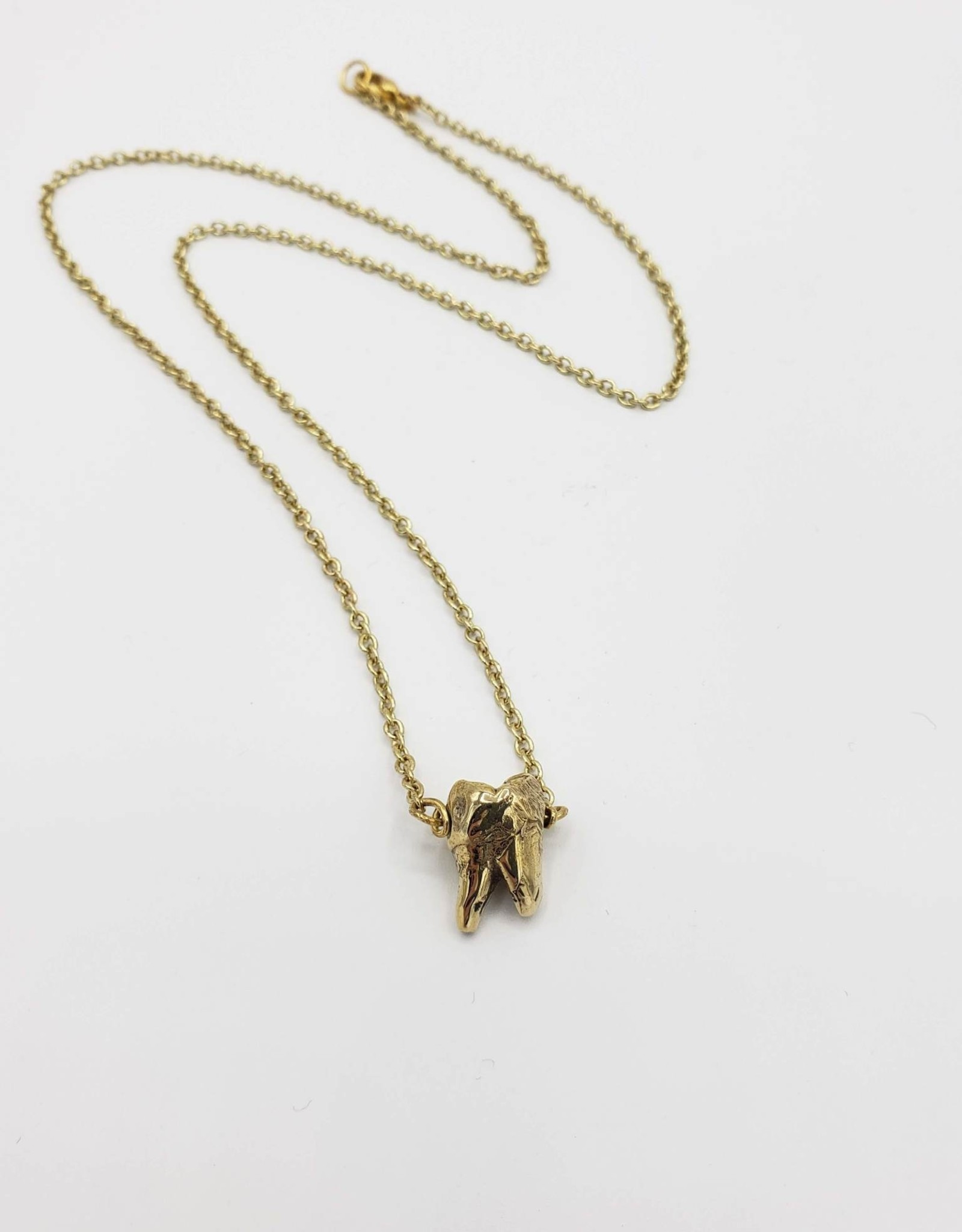 Redux Single Tooth Pendant bronze - double split root, high polish gold plated chain