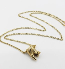 Single Tooth Pendant -bronze - triple split root, high polish gold plated chain.