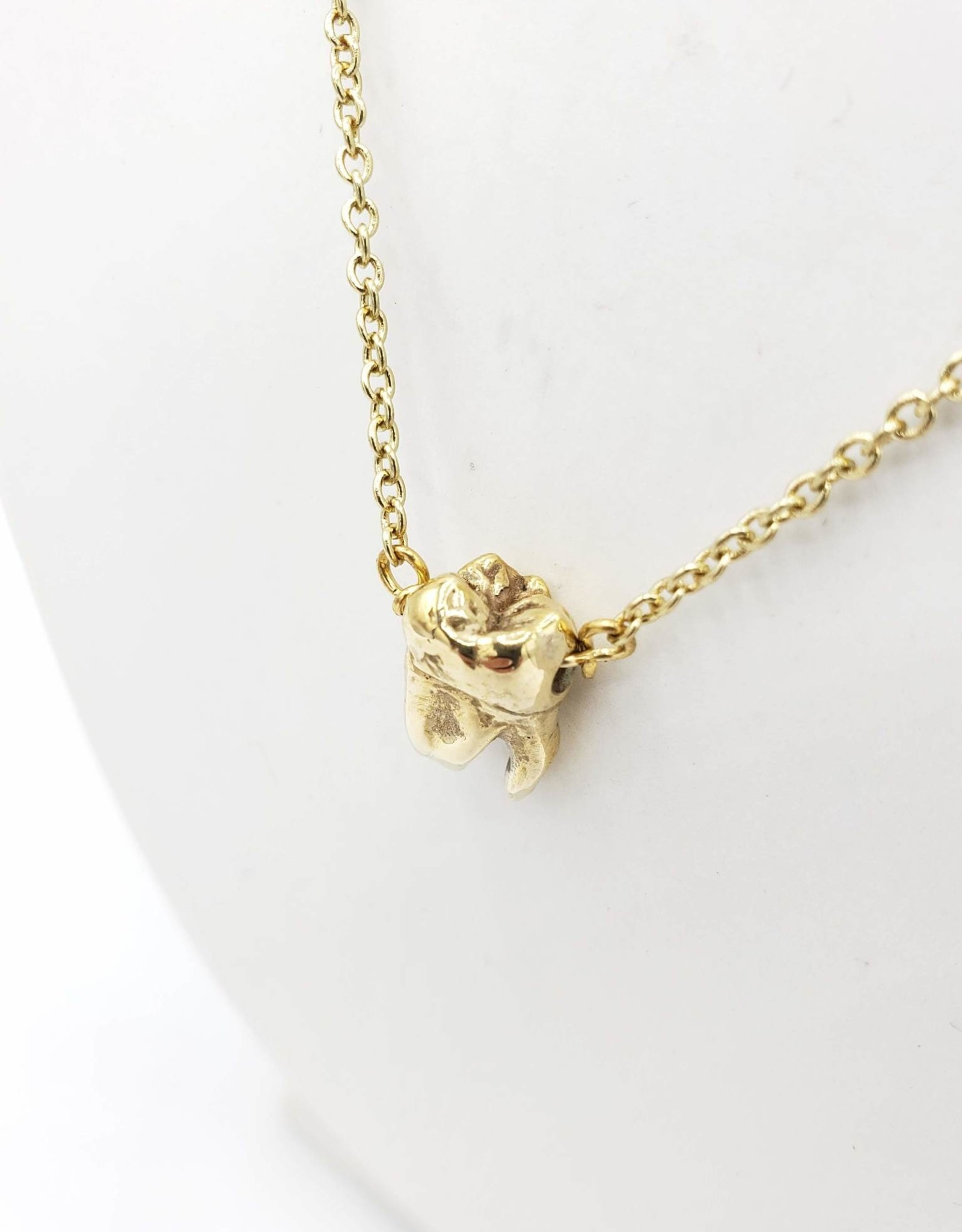 Redux Single Tooth Pendant -bronze - triple split root, high polish gold plated chain.