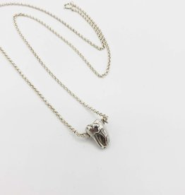 Single Tooth Sterling Silver Necklace - double joined root, high polish sterling chain