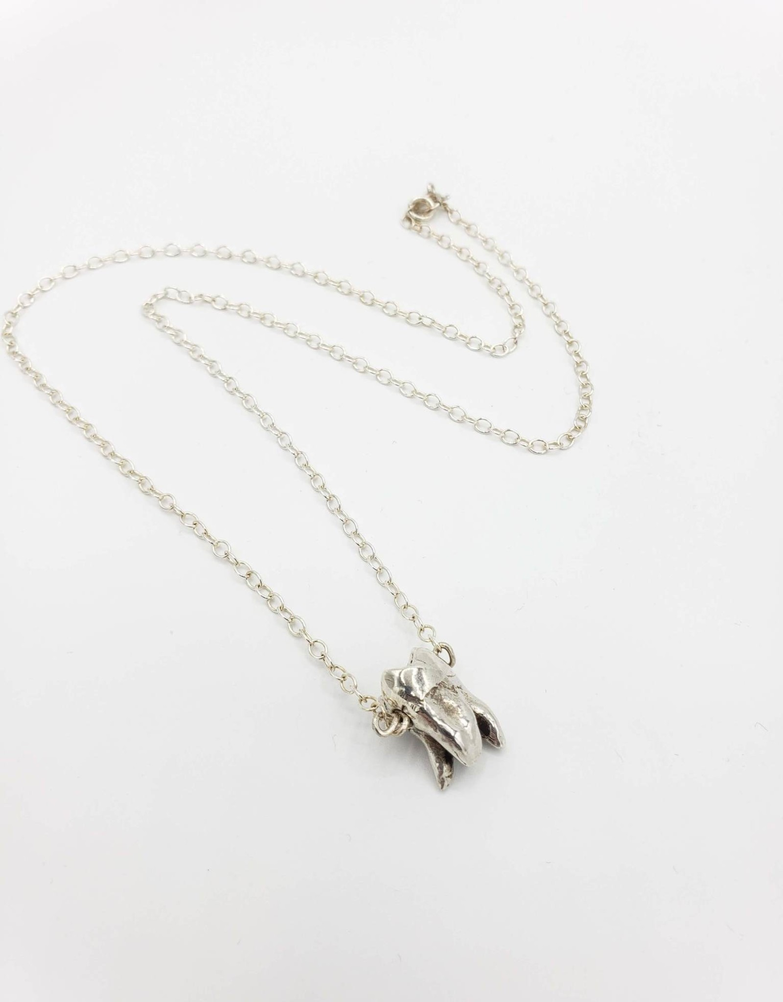 Redux Single Tooth Sterling Silver Necklace - triple split root, high polish sterling chain