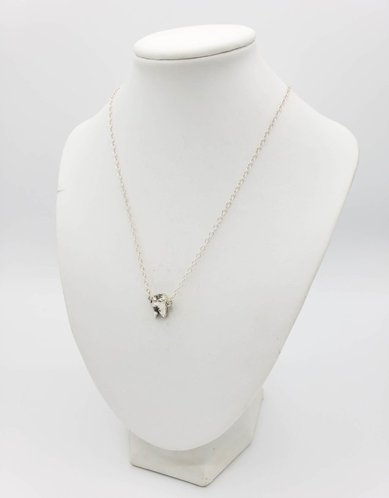 Redux Single Tooth Sterling Silver Necklace - double split root, high polish sterling chain