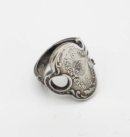 Vintage Key Ring, Sz. 6.5 - ''Independent'' -Sterling Silver, Antiqued