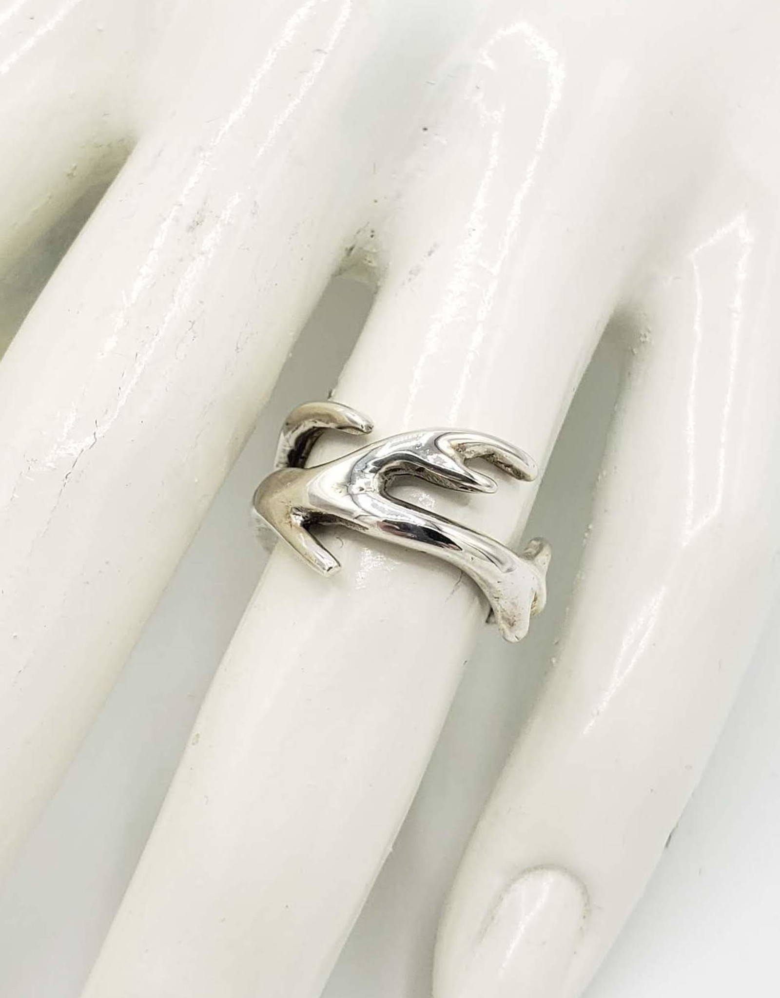 Antler Ring Wide, Sz 6.5 in high polished Sterling Silver