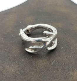 Antler Ring wide branches cast in Sterling Silver, high polish sm (5-6)