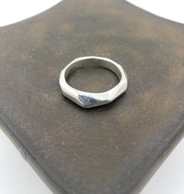 Light faceted sterling silver ring - high polish