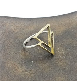 Double Triangle mixed metals Ring by Foxtail