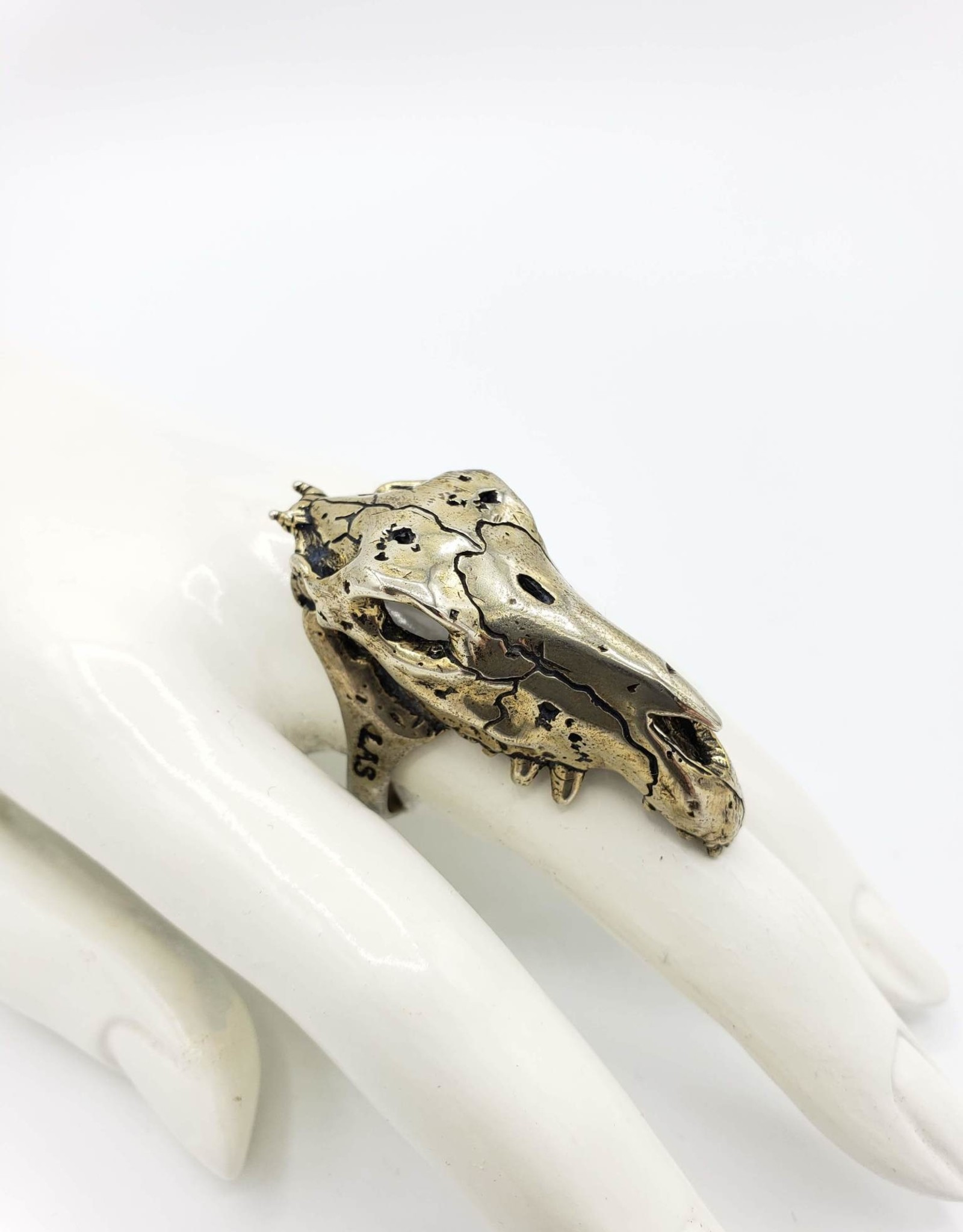 LAS Collective Horse Skull Ring - Sz. 10 White Bronze, Polished