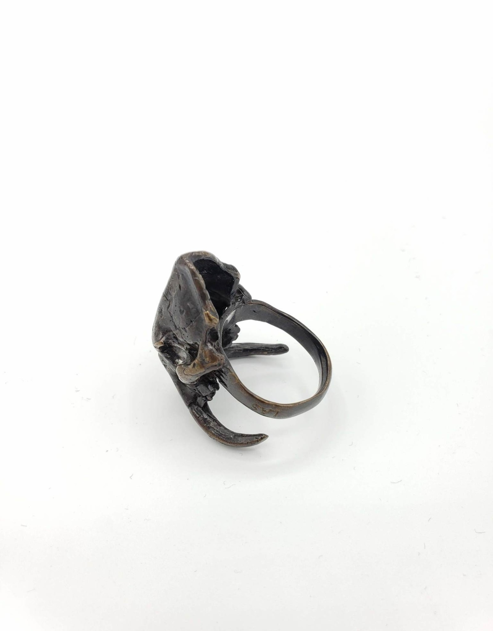 LAS Collective Sabertooth Skull Ring - Sz. 11.5 Yellow Bronze, Oxidized