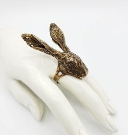 LAS Collective Rabbit Head Ring yellow bronze polished - by LAS Collective