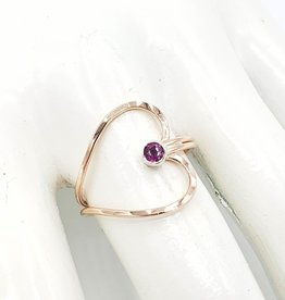 Peter James Jewelry Heart shaped wire Ring with tiny garnet, rose gold fill