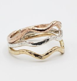 Peter James Jewelry Mixed Metals Wave Ring, Sterling + Gold Fill + Rose Gold - Peter James Jewelry